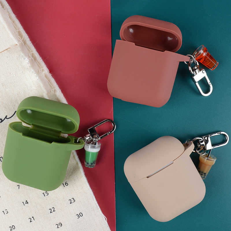 Silicone Case For Apple AirPods Case Bluetooth Earphone Cute Protective Cover For Airpods Charging Case With Milk tea Key Ring