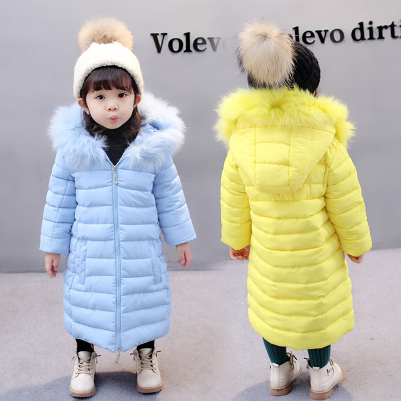 Kids Parkas 2018 Winter New Fashion Thick Warm Jacket Coat For Children Girls Long Outerwar For 2-8T Girl High Quality цена
