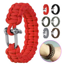 Outdoor Military Survival U Shap Steel Buckle Parachute Cord Rope Bracelets Woven Emergency Bangles JC