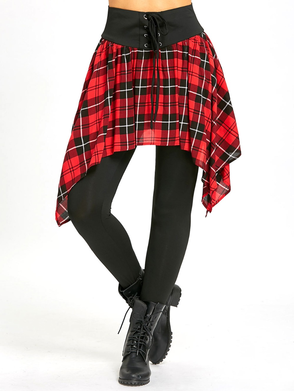 Women Asymmetric Plaid Lace Up Skirted   Leggings   Autumn Fall Long Pants with Skirt Fake Two-piece Suit High Waist   Legging  .