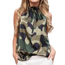 купить BlouseShirtFashion Women blusasmujerdemoda2019women'sCold Shoulder Printing Sleeveless Vest Tunic Tank Shirt Top Blouse дешево