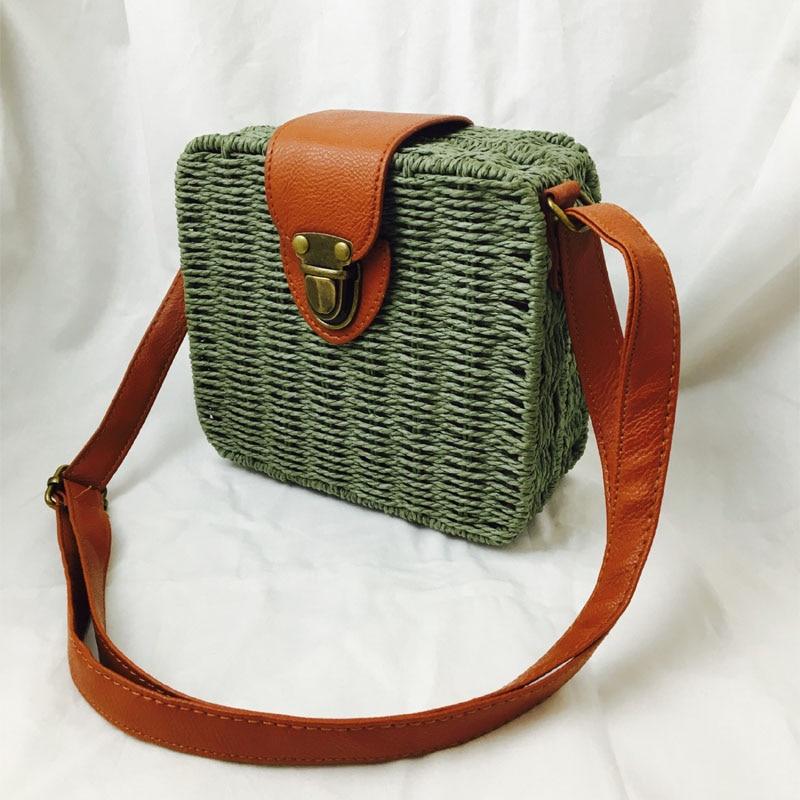 Fashion Mini Ladies Shoulder Bags Hand-woven Square Candy Color Straw Bag  Bohemia Beach Bag Vacation Travel Crossbody bag