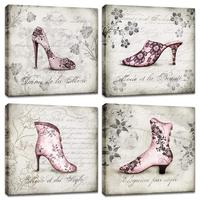 Pink Fashion Women Floral Shoes Canvas Print Flower Vintage Black and White Backgound Painting Rustic Letter Wall Drop shipping