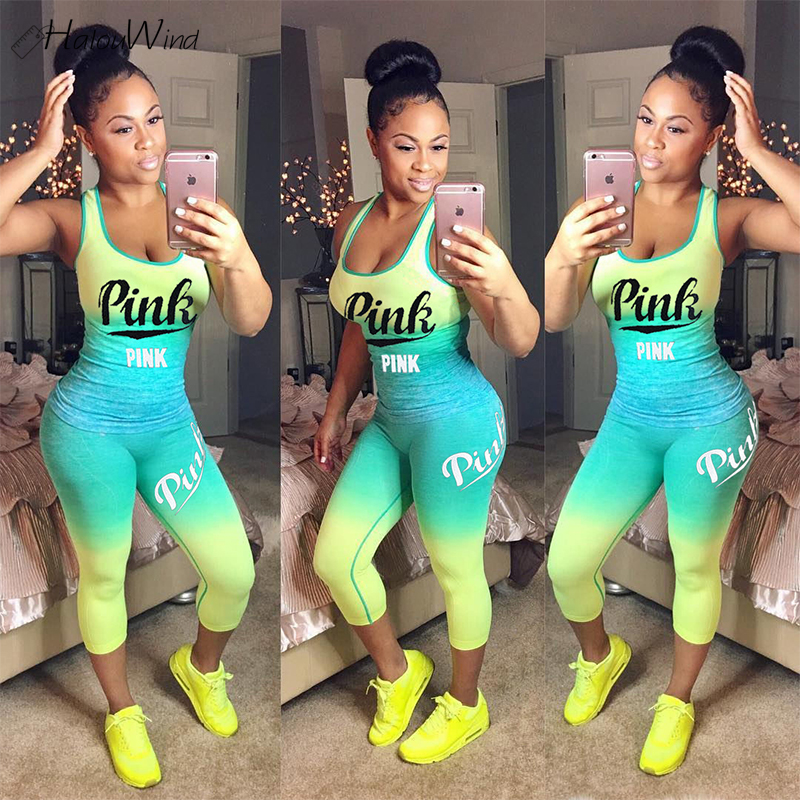 New Casual One Pieces Pink Letter Print Women Jumpsuit Sleeveless Top Skinny Long Pants Ladies Romper Sportsuit Plus Size 3XL
