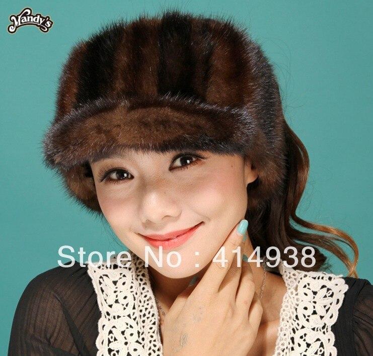 100% guaranteed lady's cool real mink fur hat cap visors 2 colors