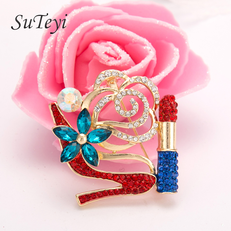 Good SUTEYI Crystal High Heel Shoes Lipstick Brooches Charms Women Wedding Brooch  Collar Hijab Pin Up Islam Muslim Broach Jewelry  In Brooches From Jewelry  ...