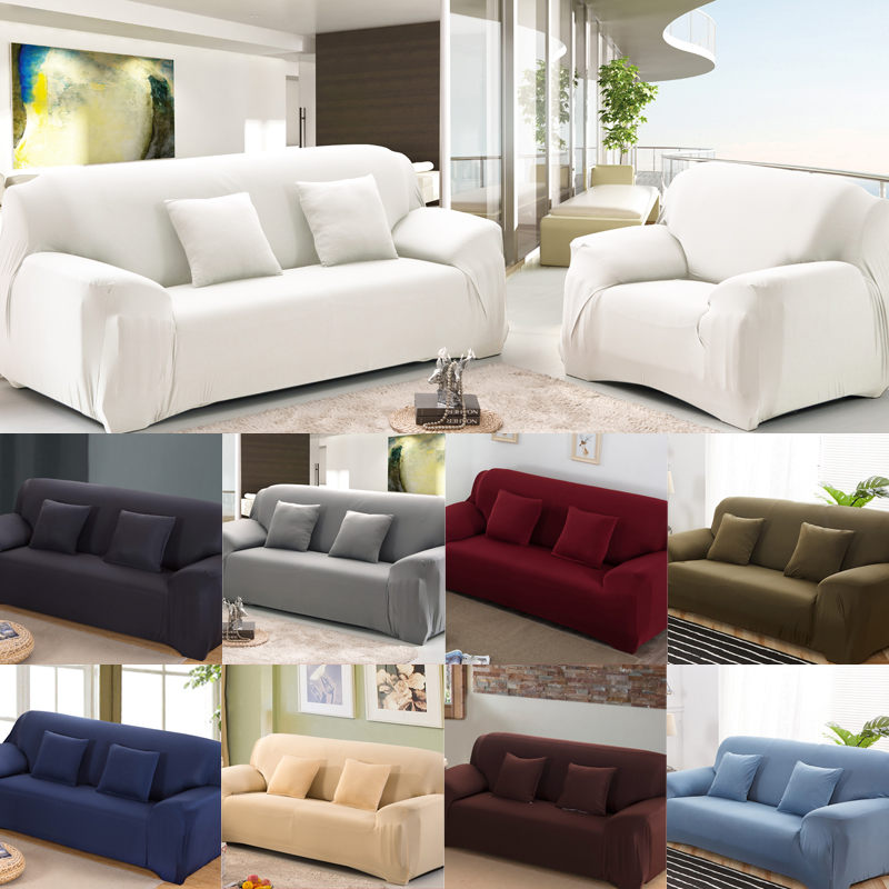 Solid Sofa Cover For Living Room Elastic Case For Sofa Sectional Couch Covers Spandex Stretch Sofa Cover White 1/2/3/4 Seater