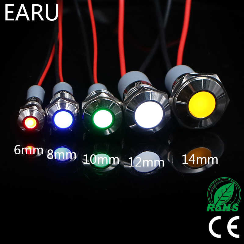 6mm 8mm 10mm 12mm 14mm Waterproof IP67 Metal LED Warning Indicator Light Signal Lamp Pilot Wire 3V 5V 12V 24V 110V 220V Red Blue