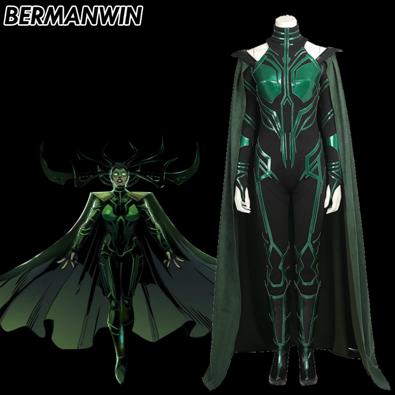 BERMANWIN High Quality Hela Costume Adult women Thor Ragnarok Hela Costume Jumpsuit Boots Halloween Cosplay Costume
