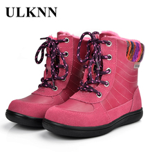 ULKNN Girls Boots Winter Kids Shoes For Girls Snow Boots Children Genuine Leather With Fur Pink Plush bota tenis infantil