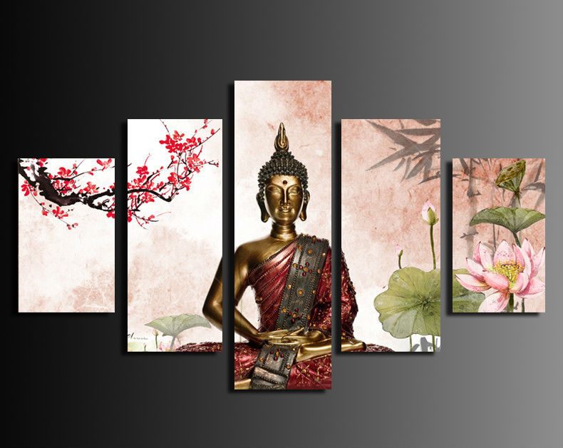 Hot 5 Panel Abstract Painting Printed Canvas Wall Art Home Decoration Buddha  Buddha Cuadros Framed Painting