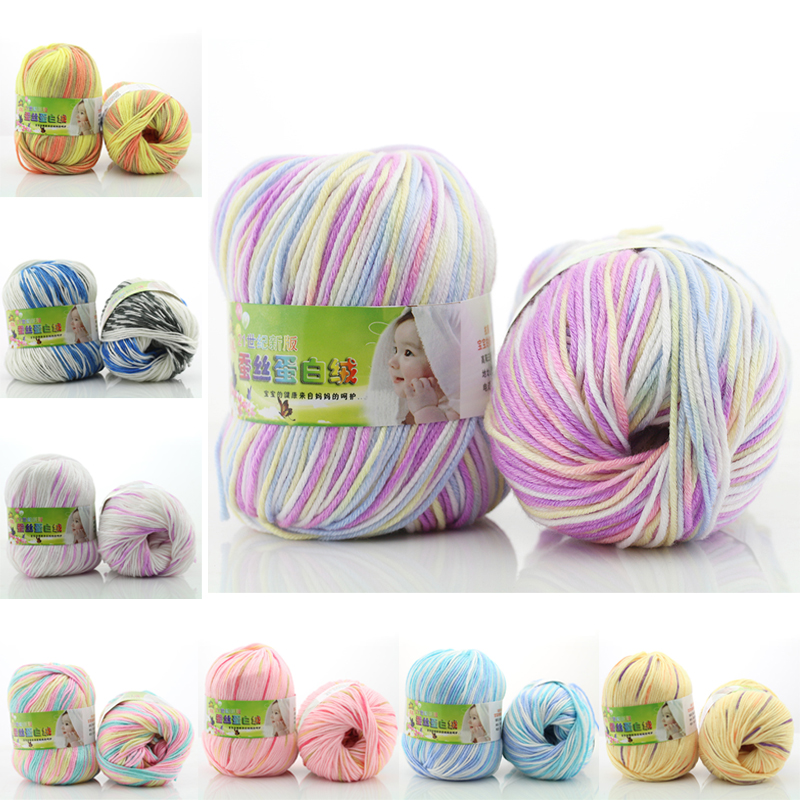 1 गेंद फैक्टरी मूल्य 2016 रंगीन नरम सूती धागा बुनाई के लिए और crochet के लिए कपड़ा बुनाई शिल्प के लिए बिक्री बुनाई सुइयों