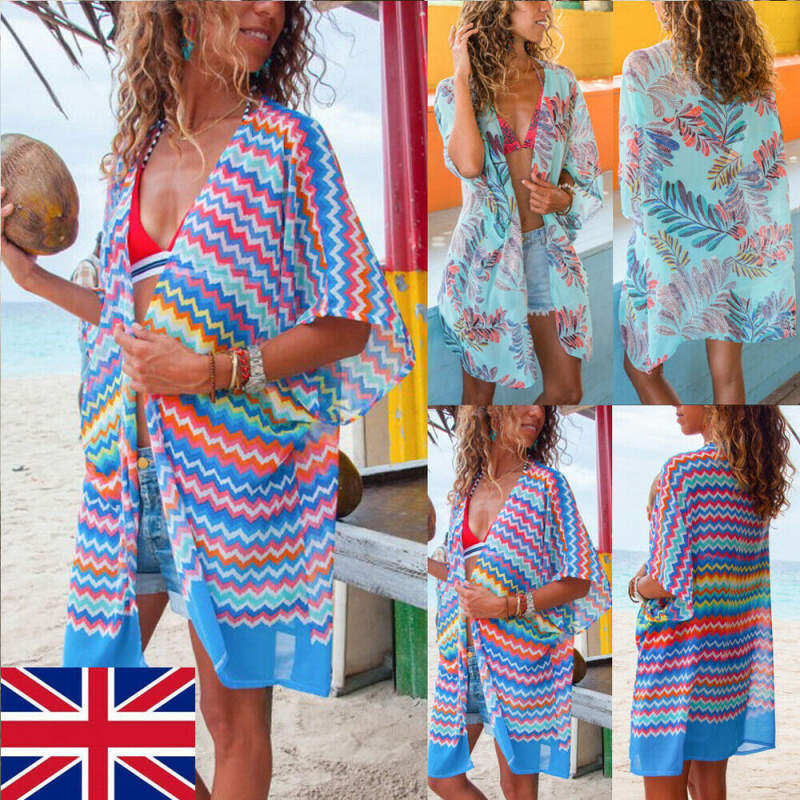 <font><b>Womens</b></font> <font><b>Summer</b></font> <font><b>Beach</b></font> Wear Bikini Cover Up Kaftan Swimsuit Long <font><b>Fashion</b></font> Female <font><b>Sexy</b></font> Ladies Chiffon Sun <font><b>Dress</b></font> UK image