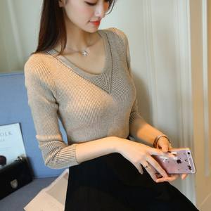 2018  new women's wear V collar knitted Jersey Korean jacket sweater women's wear long sleeved body jacket knitte