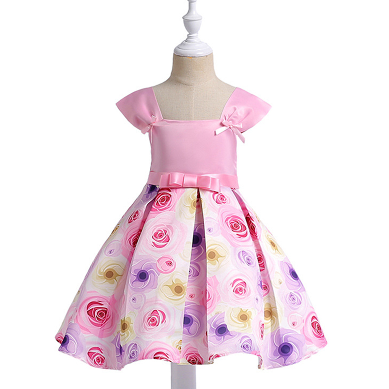 2018 Summer Floral Girls Dress Baby Princess Dresses Print Bow Tutu for Children sleeveless Party Clothing for 4y-10y summer princess o neck embroidery bow clothes children girls crown print dresses wholesale sleeveless boutique clothing 5pcs lot