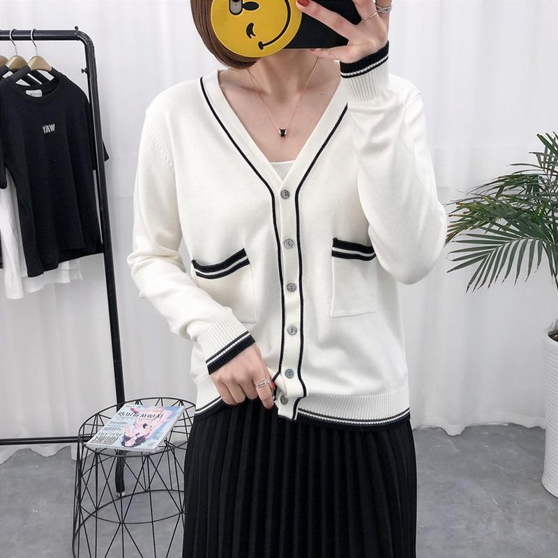 Nate Hakuna 2018 Spring/Summer New V-Neck Women Cardigan Knits Wool Full Sleeve Soft Female Sweater Women Knitting Cardigan