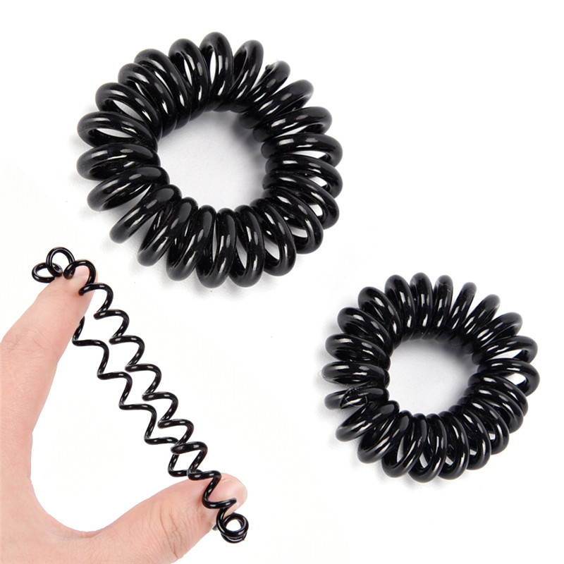 New 10PCS/LOT Rubber Band   Headwear   Rope Spiral Shape Elastic Hair Bands Girls Hair Accessories Hair Ties Gum Telephone Wire