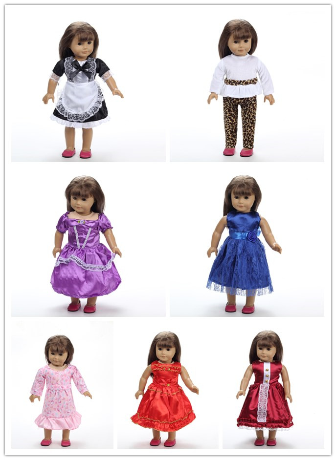 20pcs mix styles Christmas gift 18 inch American Girl Doll cute Clothes dress Fits 18 American Girl dolls