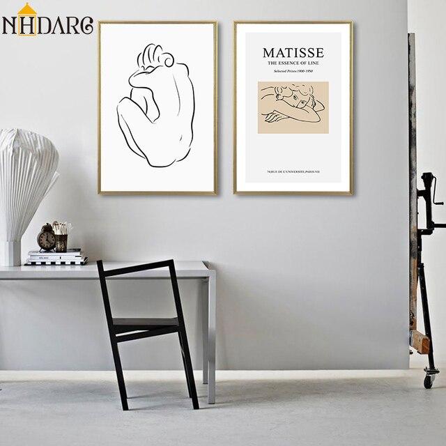 מאטיס פשוט אופנה מודרני ווג סקיצה דמויות סגנון עיצוב הבית ציורי פוסטר הדפסי בד אמנות קיר תמונת אמנות