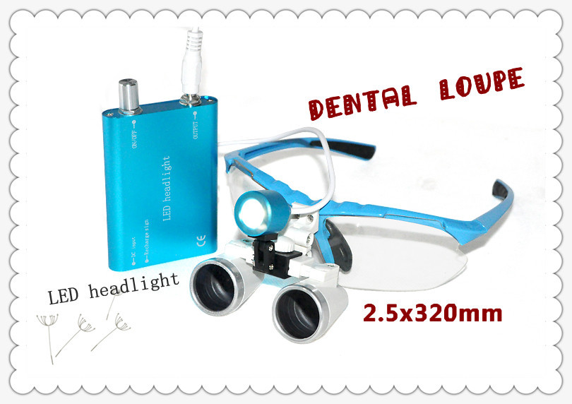Free shipping Blue Color Dentist Dental Surgical 2.5X320mm Binocular Loupes Optical Glass + Portable LED Head Light Lamp silver free shipping new 3 5x320 magnifier dentist dental surgical binocular loupes optical and portable led head light lamp w5