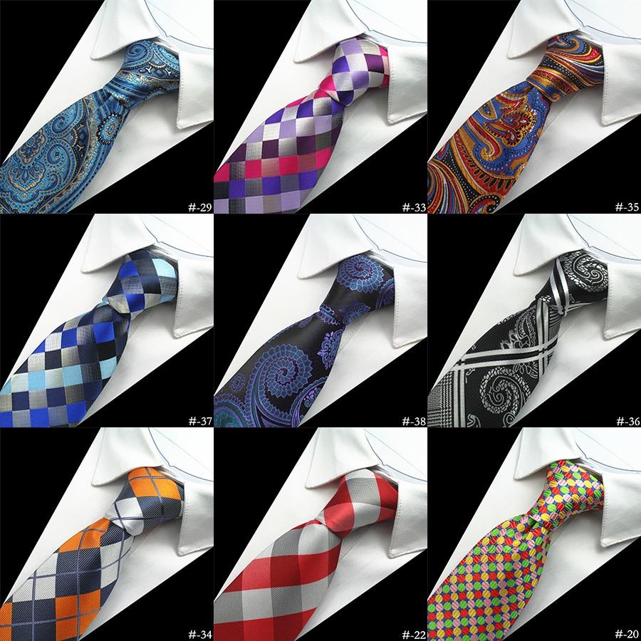 Ricnais Brand 100% Silk Neck Tie For Men Plaid Paisley Corbatas Hombre 8 Cm Gravata Tie Formal Social Event Wedding Dress Set
