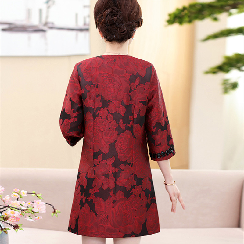 Mujer Windbreaker Verde Mediana Más wine Impreso Trench Rhinestone Tamaño Red Vintage Coat 5xl O Abrigos Edad Cuello Red rose qw6xI7E6