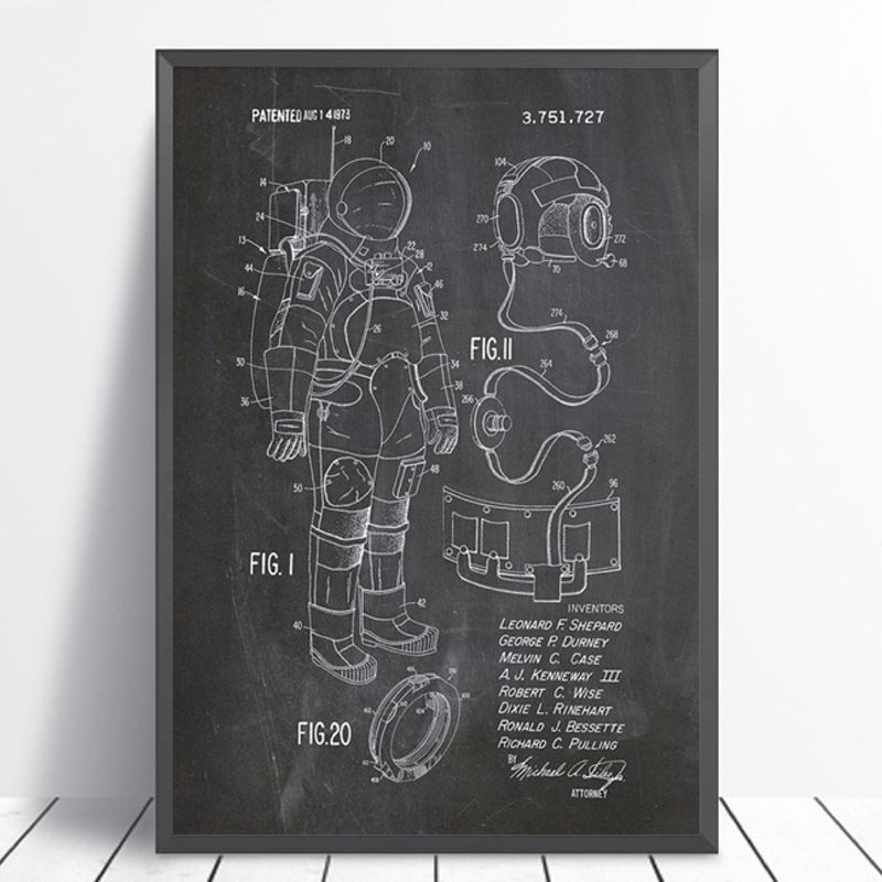 Astronaut Space Suit Patent Poster Print Outer Space Blueprint Artwork Wall Art Canvas Painting Home Room Wall Decor
