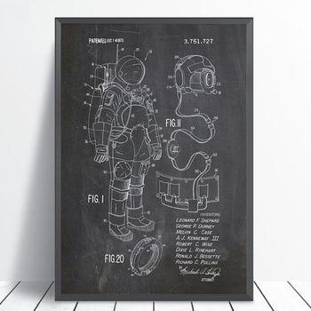 Astronauta Space Suit Patent plakat drukuj kosmos Blueprint grafika obraz ścienny na płótnie dekoracja ścienna do pokoju domowego
