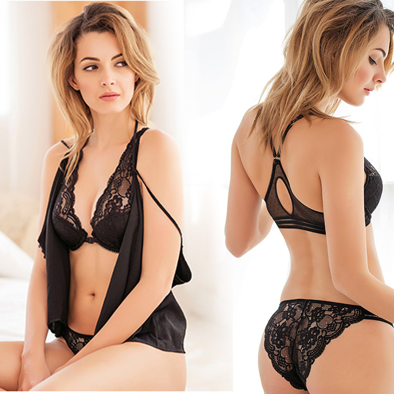 Deep V Lace sexy lingerie temptation female thin beauty back bra set Gather Front buckle breathable thin Set summer in Bra Brief Sets from Underwear Sleepwears