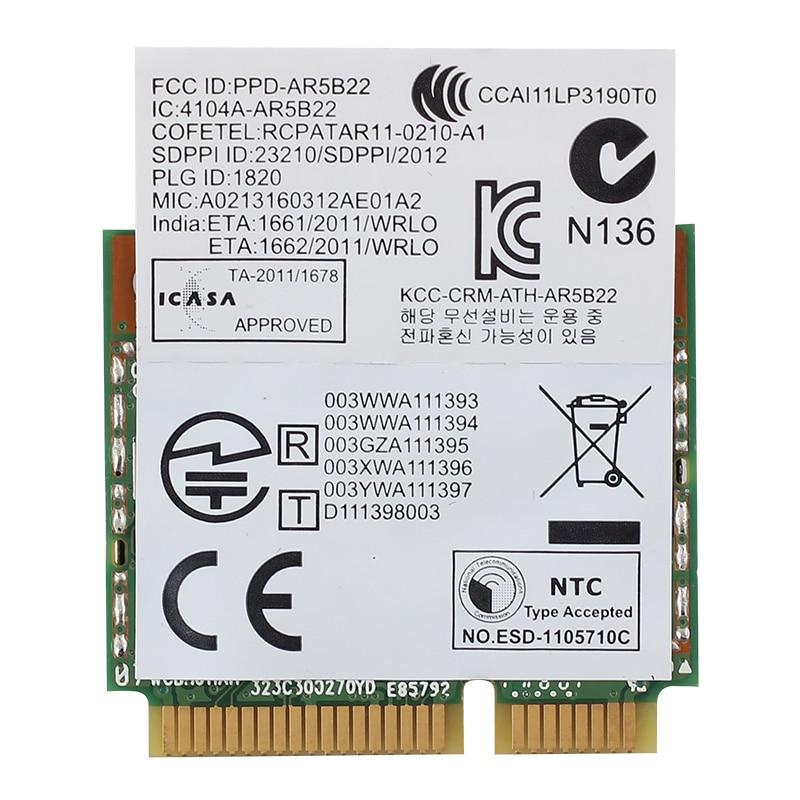 Atheros AR5B22 Dual Band Wireless Half Mini PCI-E Card 300Mbps Laptop Wireless WiFi Bluetooth BT 4.0 COMBO MINI PCI-e Network