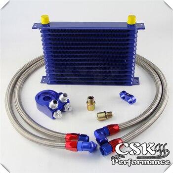 Universal 15 Row 262mm AN10 Engine Transmission Oil Cooler Trust Type + Aluminum Filter Adapter Kit Blue
