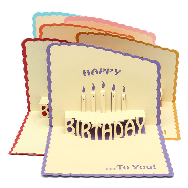 Popular Cake 3d Paper Cards Handmade Pop Up Happy Birthday Greeting