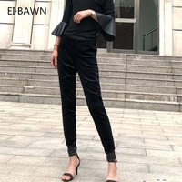 2018 Autumn Fashion Women Trousers Genuine Leather Velvet Stitching Casual Vintage Streetwear Black Korean Style Ladies Pants