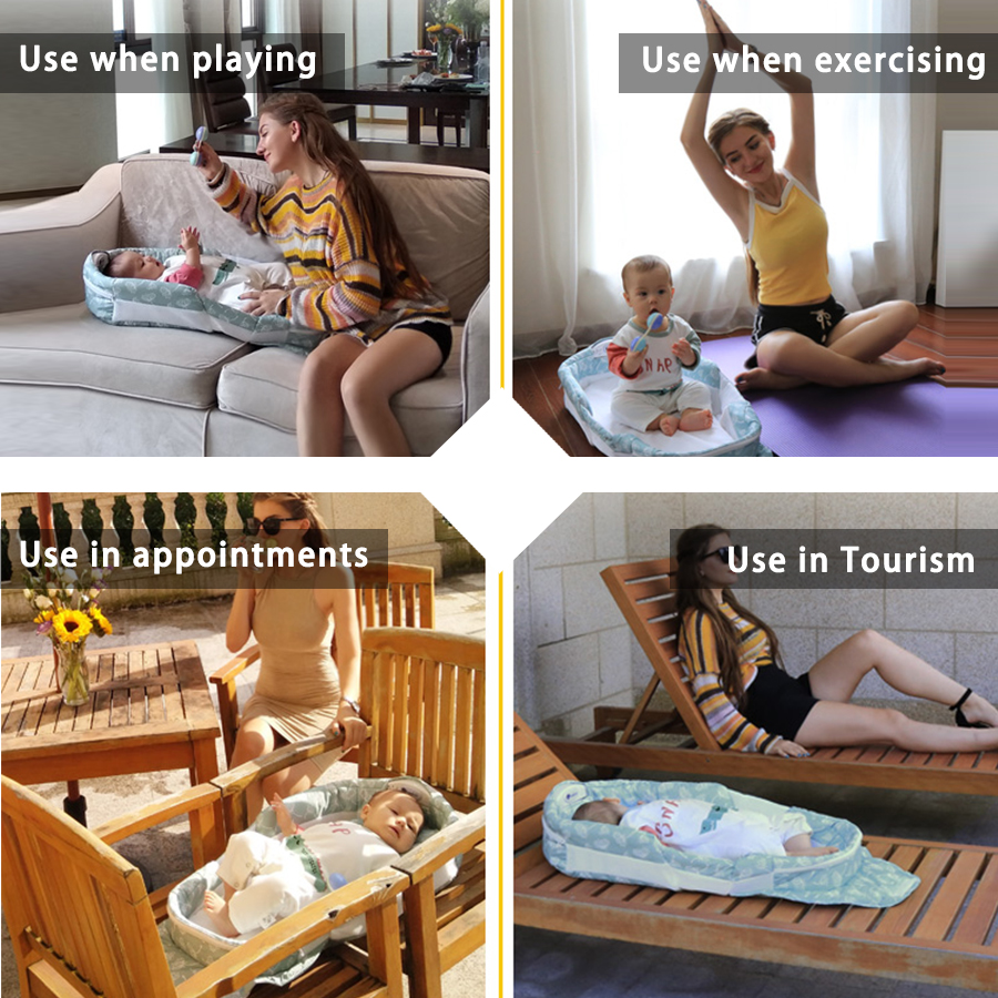 Купить с кэшбэком Have music night light portable foldable baby bed mummy packs boy gril travel bed baby newborns crib 90*40*14cm hot sale
