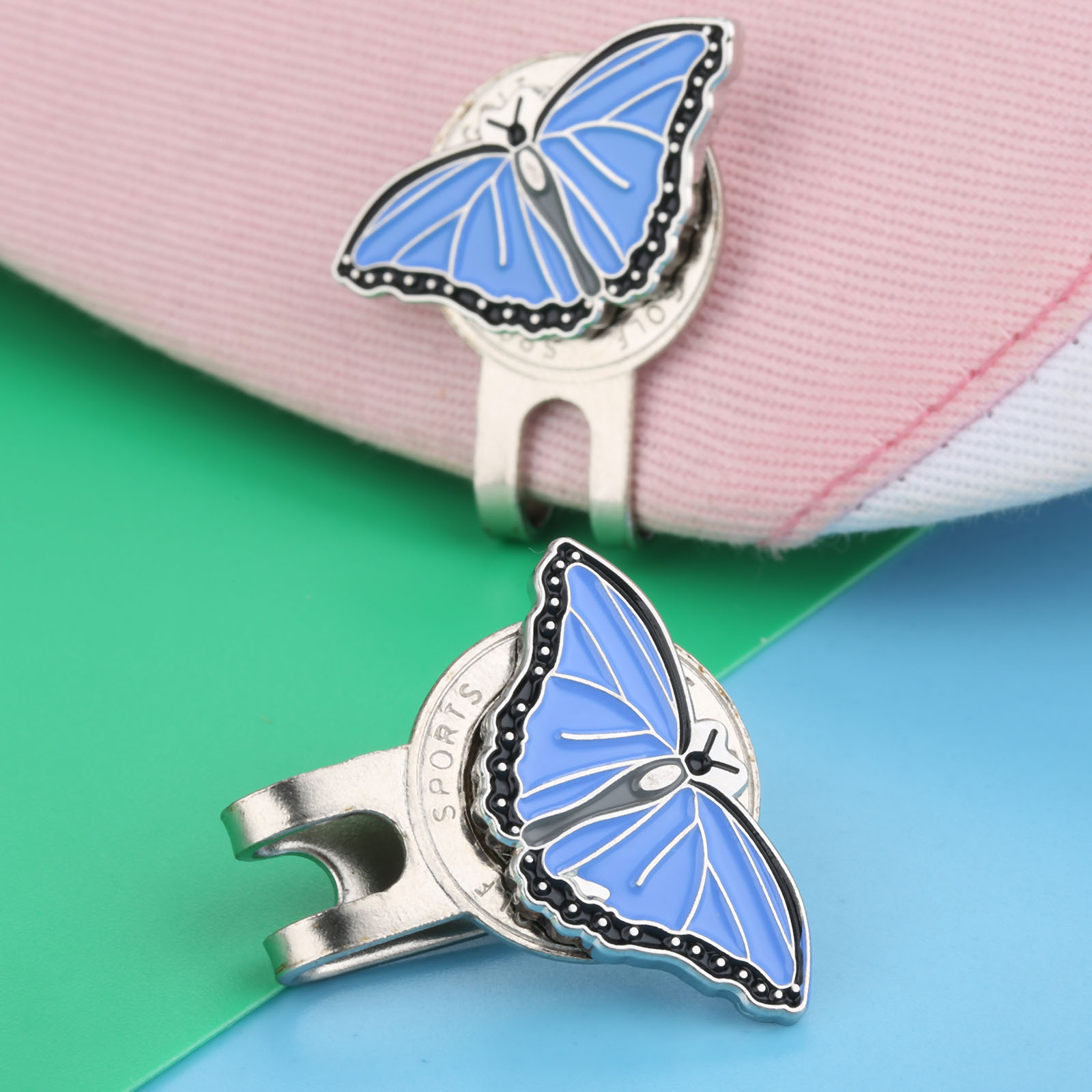Professional Alloy Golf Cap Clip Metal Magnetic Hat Visor Clips Golf Ball Aiming Marker Golf Training Aids - Butterfly Design