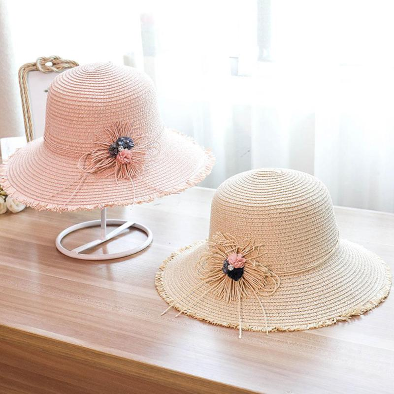 New Summer Women Flowers Straw Sun Panama Hat Big Wide Brim Elegant Sunshade Travel Beach Outdoor Cap Casual Simple for Female