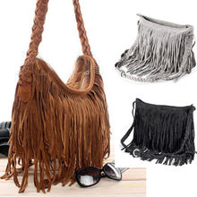 купить Hot Women Shoulder bag Solid Tassels Trending Cross Body Bag Tassel Suede Faux fur Fringe Messenger Shoulder Handbag дешево