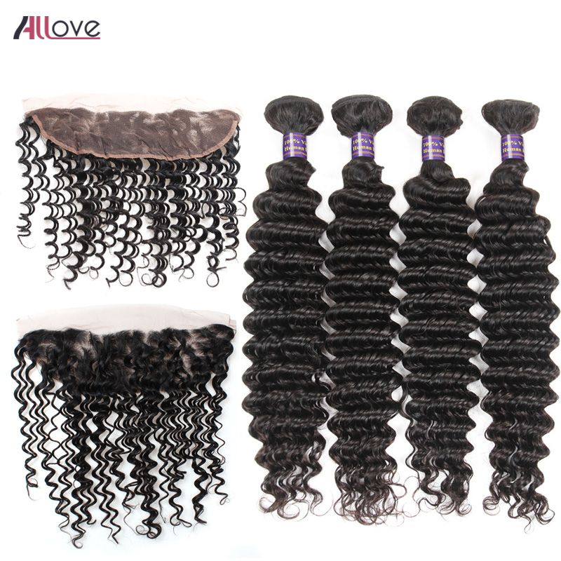Allove Brazilian Hair Weave Bundles With Frontal Closure Remy Hair 4 Bundles 100% Human Hair Deep Wave With Frontal Free Part