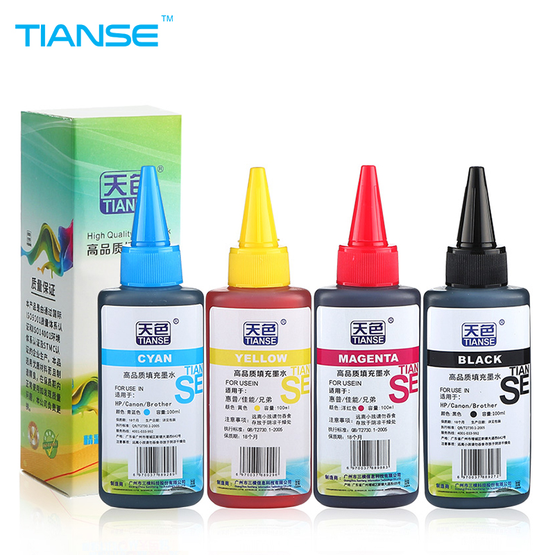 TIANSE Universal 4 Color 100ml Dye Ink for Brother for HP ink cartridge for Canno inkjet