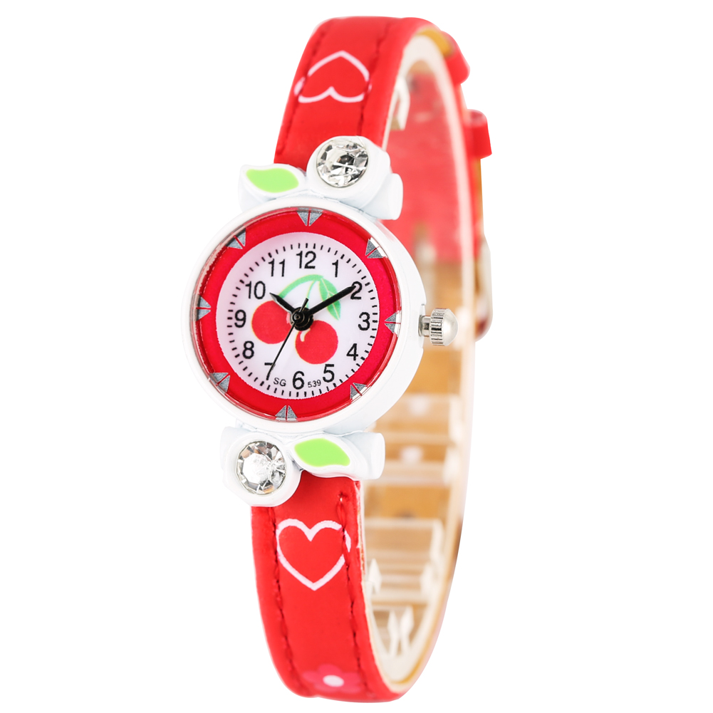 Classic Cherry Pattern Quartz Watch For Kids Arabic Numerals Dial Diamond-encrusted Leather Strap Watches For Student