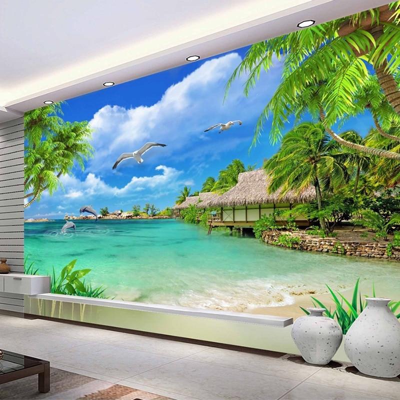 Custom Wall Murals Sea Beach Dolphin Coconut Trees 3D Photo Wallpaper Living Room Mural Self-adhesive Stickers Papel De Parede
