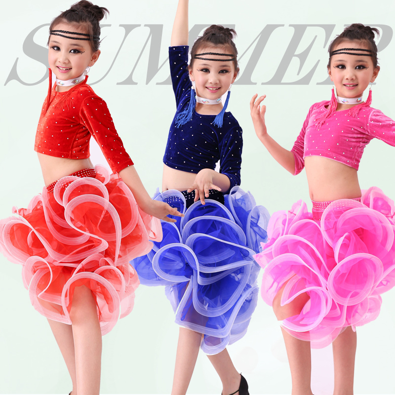 Kids Ballroom Dance Wear Salsa Tango Rumba Samba Costume velvet children professional latin dance dress for girls flamengo skirt
