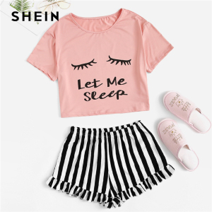 Image 5 - SHEIN Black Graphic Tee Frilled Striped Shorts PJ Round Neck Short Sleeve Set 2019 Summer Women Patchwork Sleepwear