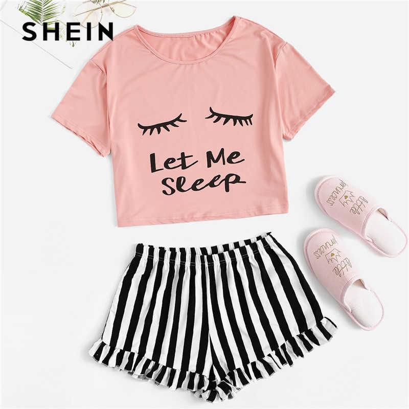 Shein 블랙 그래픽 티 프릴 스트라이프 반바지 pj 라운드 넥 반팔 세트 2019 여름 여성 패치 워크 잠옷