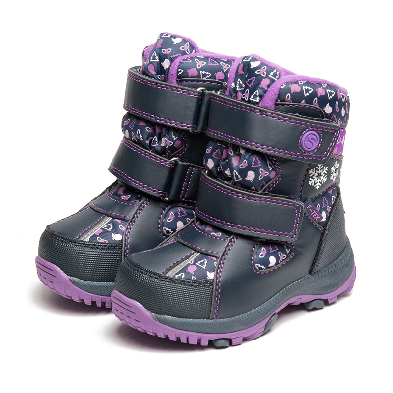 FLAMINGO Winter Waterproof Wool Warm High Quality Kids Shoes Orthotic Arch Anti-slip Size 23-28 Snow Boots for Girl 82M-QK-0921 meotina winter boots women pointed toe ankle boots lace up rivets chunky heel short martin boots big size 33 43 ladies shoes red