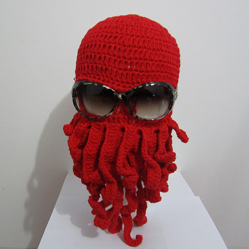 BomHCS Funny Beard Novelty Handmade Knitting Funny Octopus Hat Christmas Party Hand-Knitted Unisex Gift bomhcs funny wigs beard handmade knitting hats wanderers cap helloween party gifts