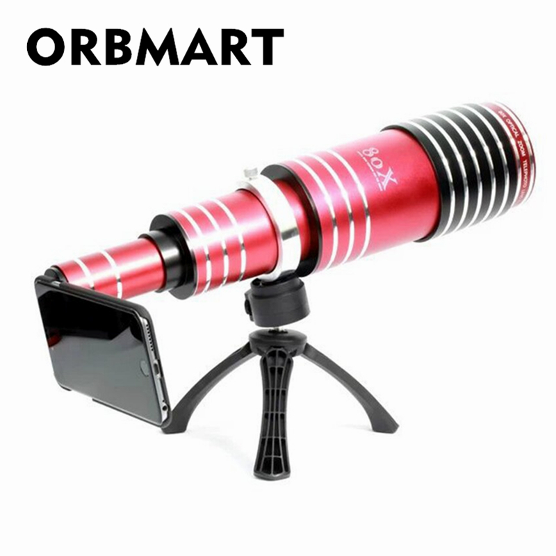 ORBMART 80X optique Zoom télescope lentille de téléphone Mobile pour iPhone 5 5 s 6 6 S Plus 7 8 iPhone Samsung Galaxy S8 S7 S6 Edge Note 5 4