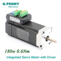 Free Shipping! Integrated Servo Motor with Driver 180w 36VDC 3000rpm 0.60Nm 6.0A Mini Servo Motor with driver