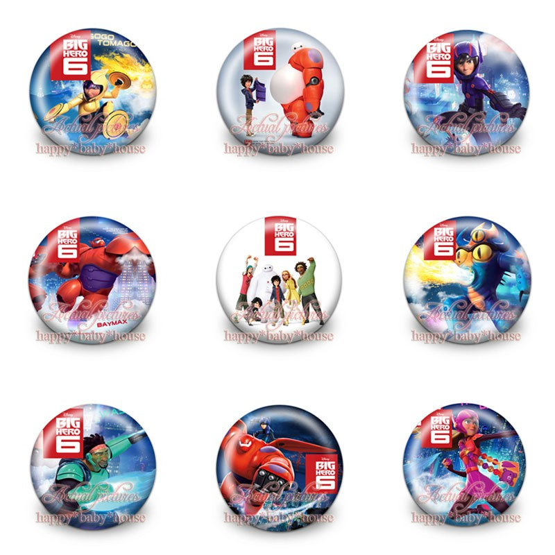 Luggage & Bags mixed Models 90pcs Big Hero 6 Novelty Buttons Pins Badges,round Badges,30mm Diameter,clothing/bags Accessories,party Gifts Evident Effect Special Section