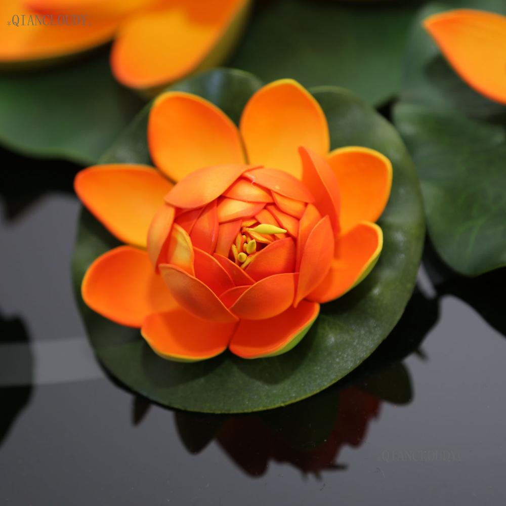 Artificial orange lotus leaf leaves flowers water fake ponds flowers artificial orange lotus leaf leaves flowers water fake ponds flowers lily floating pool home garden plants wedding d24 in artificial dried flowers from izmirmasajfo